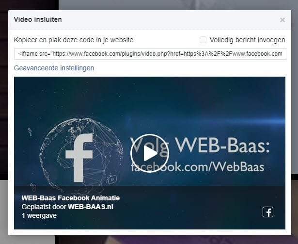 Embedcode Facebook