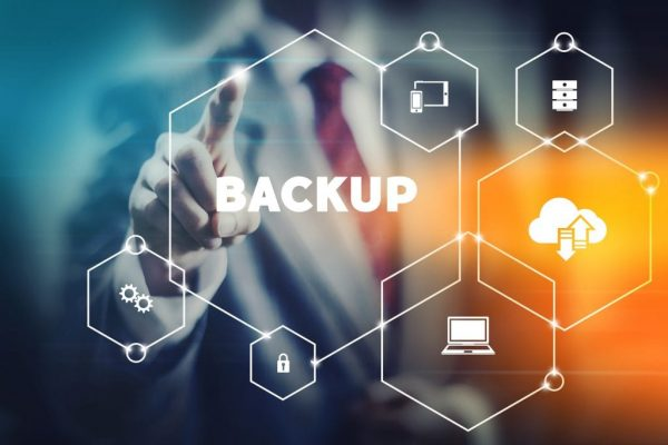 Data security backup concept business man selecting word from modern virtual interface